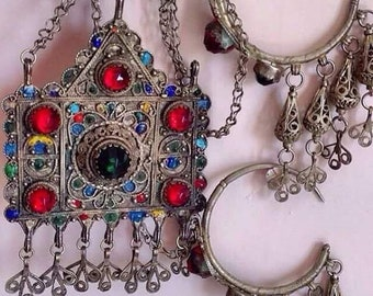Old Berber Headdress with Enamel & Colored Glass, S. Morroco