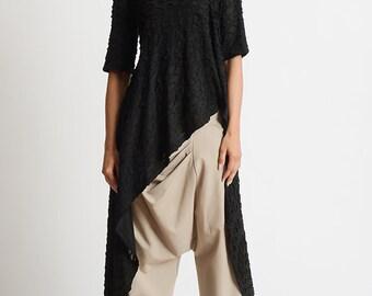 NEW Beige Loose Asymmetric Pants/Oversize Long Trousers/Plus Size Maxi Pants/Extravagant Wide Leg Trousers/Drop Crotch Casual Beige Pants