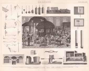 Antique industry Print - Antique Glass making Illustration from 1857