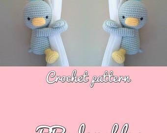 Duck curtain tieback crochet PATTERN, right or left duck tieback pattern PDF