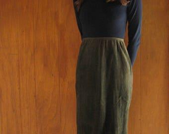 green SUEDE high waist skirt, s