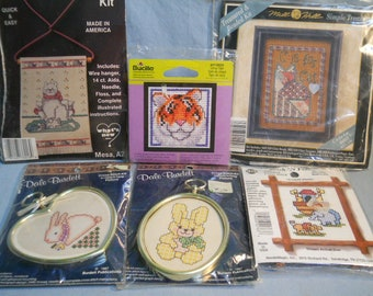 6 Mini Bucilla Dale Burdett Mill Hill Counted Cross Stitch Kits Some with Frames Tiger Cat Bunny
