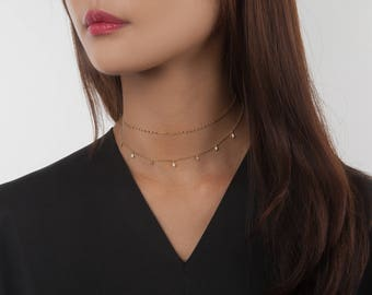 Gold Lace Chain Choker, Tattoo Choker, Dainty Silver Plated Choker Necklace, Rose Gold Chain Necklace,Layered Choker Necklace,Gift for Woman