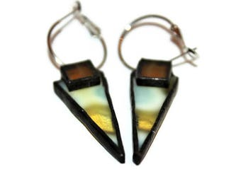 Upcycled Glass Earrings, Glass Jewelry, Soldered Glass Earrings, Gift for Her, Girlfriend Gift, Art Glass Earrings, Stained Glass Earrings