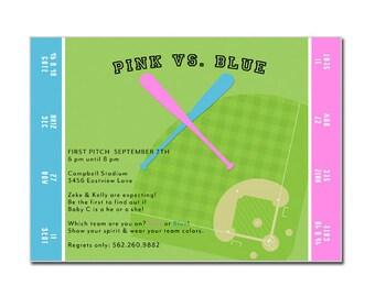 Gender Reveal Party Baseball Ticket Invitation - Baseball Shower Invitation