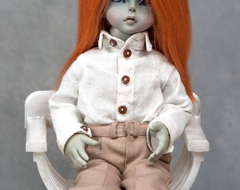 """Ready to ship! Gorgeous red alpaca wig for tiny  BJD or other doll with 6-7"""" head"""