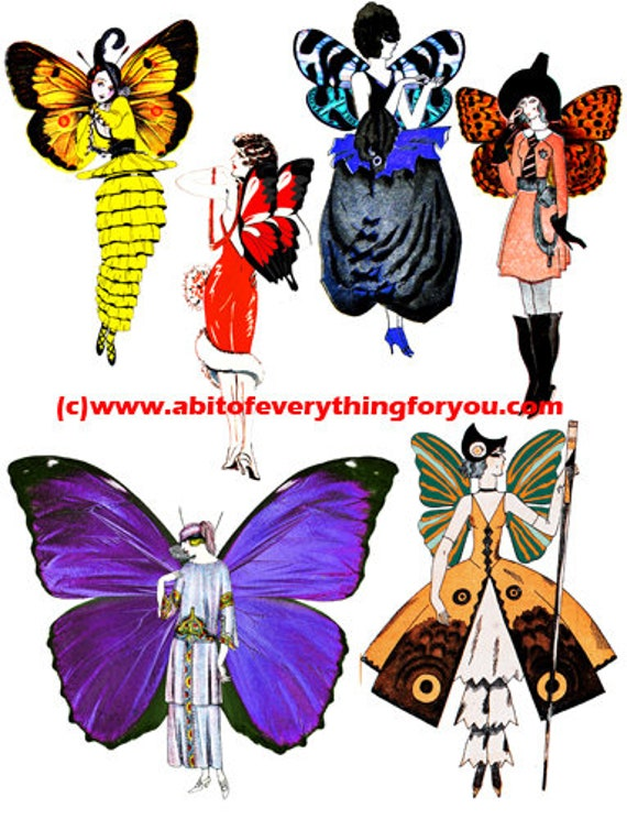 flapper girls deco fairy die cuts clipart digital download craft printables cut outs collage sheet graphics images for cards tags scrapbook