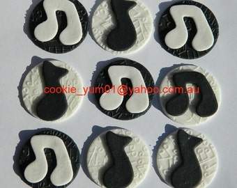 12 edible TEXTURED MUSIC NOTES embossed cake cupcake wedding topper decoration wedding anniversary birthday engagement valentine