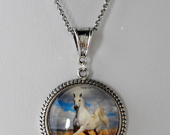 White horse cabochon necklace