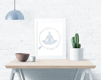 Meditation Yoga Practice Blue Chakra Lotus Blossom Figure – Instant Download – Poster 11 x 14 inches