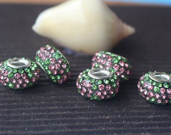 50pcs Rhinestone Crystal Spacer Beads 9x15mm