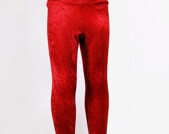 Red Crushed Velvet Stretch Leggings Pants Child Toddler Kids All Sizes MTCoffinz