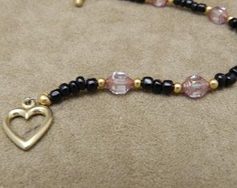 Pink Glass Hexagon bracelet