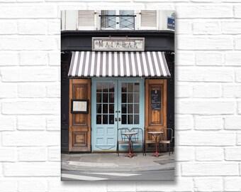 Paris Photograph on Canvas - Malabar, Gallery Wrapped Canvas, Paris Cafe, Blue Door, Urban Decor, Large Wall Art