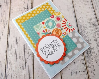 Birthday Card, Handmade Birthday Card, Stamped Card, Embellished Card, Card for Her, All Occasion Card, A7 Card, Bestest Wishes