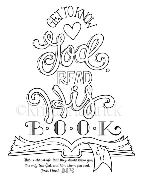 Get to Know God Read His Book coloring page 8.5X11 Bible