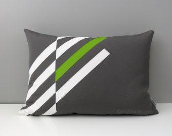 Lime Green & Grey Outdoor Pillow Cover, Modern Geometric Pillow Cover, Decorative Throw Pillow Cover, White Gray Sunbrella Cushion Cover