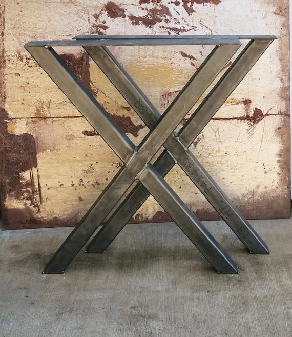 Coffee Table 3 Layers Black Square Metal Legs: X Shape Thick Industrial Metal Table Legs 2x2