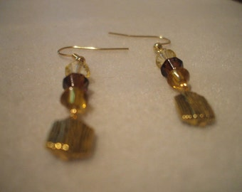 Brown Dangle Earrings shimmering