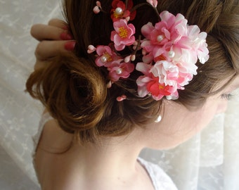 hair flower pink hair clip - DEVOTEDLY - floral accessory
