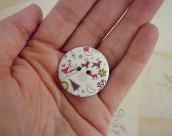 Wooden Buttons, Christmas Santa Pattern - 30mm - Pack of 10