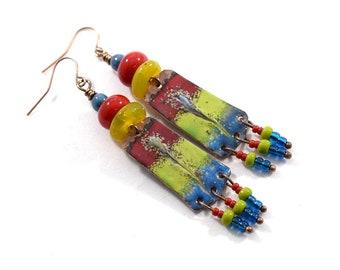 Handmade Blue Yellow and Red Enameled Earrings, Blue and Yellow, Boho  Earrings, Tribal Earrings, Industrial Earrings, Long Earrings, E031