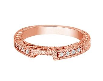 Rose Gold Engraved Wedding Band, Diamond Curve Wedding Ring, Matching Wedding Ring, Anniversary Ring, 0.12 Carat handmade