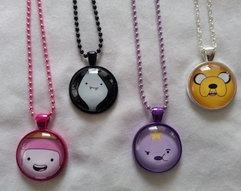 Adventure Time Jake Princess Bubblegum Marceline Lumpy Space Princess Glass Pendant Necklace