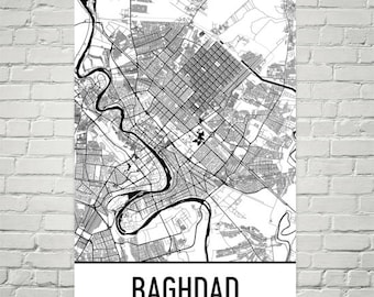 Baghdad Map, Baghdad Art, Baghdad Print, Baghdad Iraq Poster, Baghdad Wall Art, Iraqi Gifts, Map of Iraq, Iraq Poster, Iraq Decor, Iraq Art