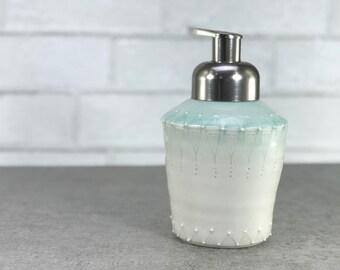 Foaming soap dispenser: Aquamarine ombre soap dispenser porcelain brushed nickel foam pump aquamarine bathroom aqua kitchen foaming pump