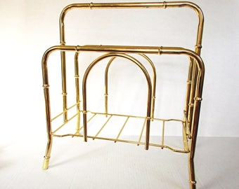 Mid Century Faux Bamboo Magazine Rack, Gold Bamboo Magazine Holder, Hollywood Regency, Gold Tone Brass Finish Metal, Vintage Magazine Rack