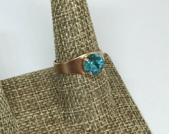 Swarovski 8mm Turquoise Rose Gold Ring