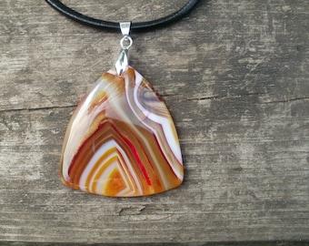 Golden agate pendant necklace