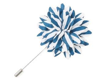 Light Blue White Lapel Pin Striped Lapel Pin Groomsman Wedding Boutonniere Flower Pin Buttonhole Groomsmen Groomsman Groom Best Man