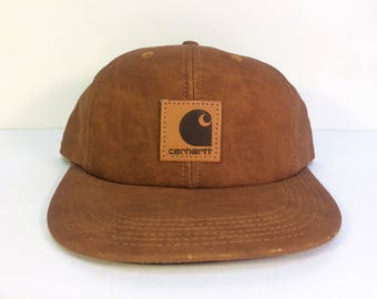 VTG Carhartt Brown/Tan Suede Snapback Hat Made in USA