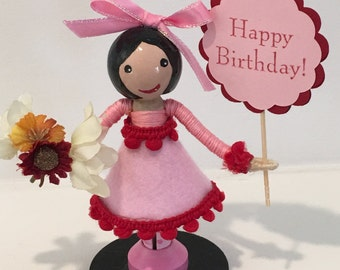 Birthday Clothespin doll