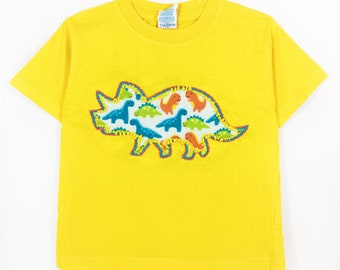 Hand Embroidered Triceratops Dino Shirt- T-shirt