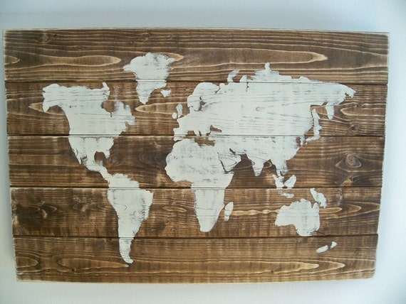 Items similar to world map wood wall hanging on dark walnut stain items similar to world map wood wall hanging on dark walnut stain 255 x 175 on etsy gumiabroncs Choice Image