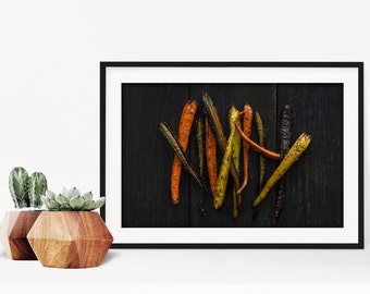 carrot v. two // food photography print // kitchen decor // dining room // minimalist art print // rustic farmhouse wall art