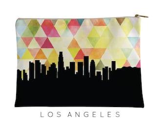Los Angeles | Los Angeles Geometric Skyline | Los Angeles Purse | Los Angeles Skyline | Los Angeles cosmetic bag | Los Angeles Pouch Yellow