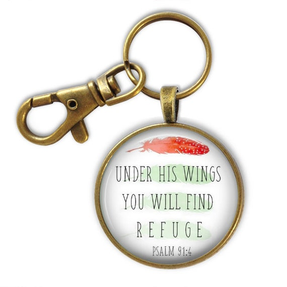 Bible Verse Encouragement Keychain, Antique Bronze, Under His wings you will find refuge  PSALM 91
