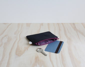 Slim coin purse Black and Burgundy