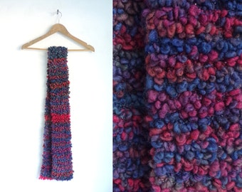 hand knit scarf, striped scarf, boucle acrylic scarf, handmade scarf, fall scarf, winter scarf, pink blue purple
