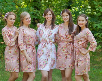 Rose Gold Bridesmaids Robes. Kimono Robes. Bridesmaids gifts. Getting ready robes. Bridal Party Robes. Floral Robes. Wedding Party Robe