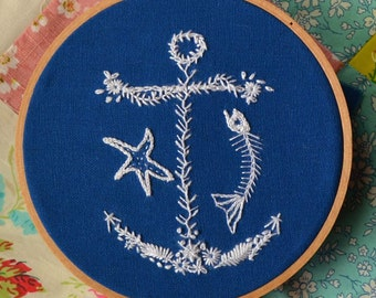 Fish & Anchor PDF Embroidery Pattern