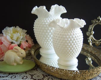 Fenton Hobnail White Milk Glass Vase - Hobnail Milk Glass Vase - Wedding Milk Glass - Double Crimped Hobnail  Milk Glass Vase - Wedding Vase