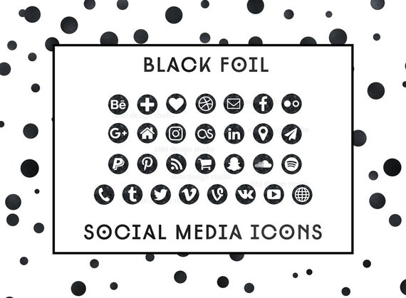 Items similar to social media icons black foil icons black button items similar to social media icons black foil icons black button social icons website icons blog icons resume icons business card icons on etsy reheart Image collections