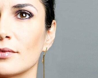 Gold statement earrings, extra long gold earrings, geometric earrings,gold bar earrings, handmade earrings,minimalist earrings, Eg1512