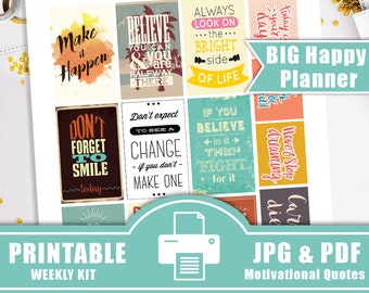 2017 BIG Happy Planner Stickers PRINTABLE Motivational Quotes,Large Happy Planner Stickers, Inspirational Quotes Stickers