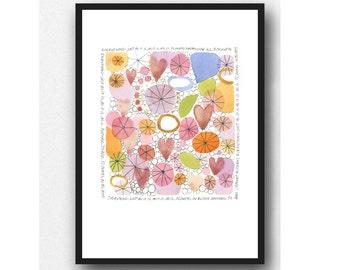 Watercolor pink floral watercolor painting Mother's day gift zen poem, poetic art